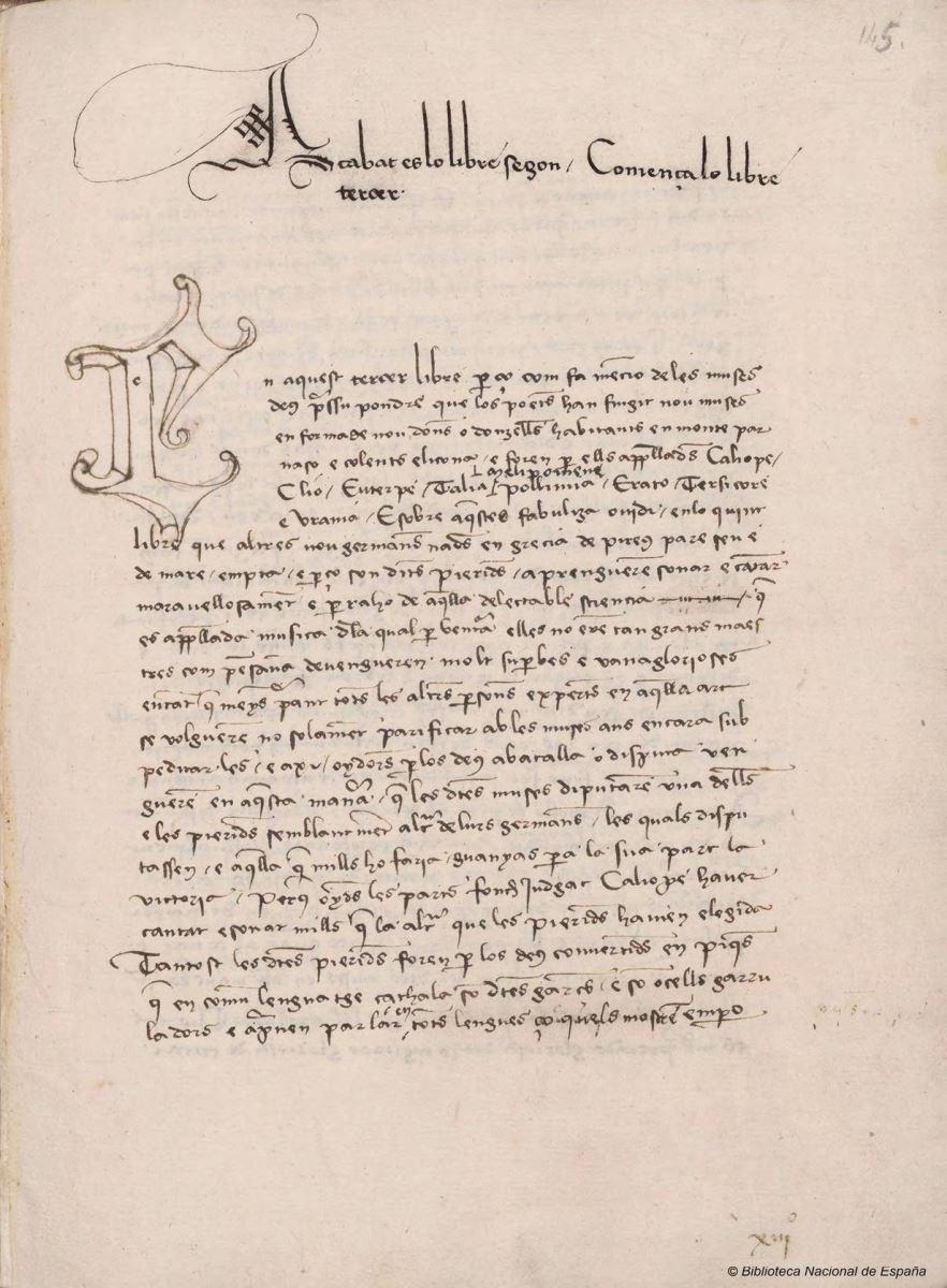 """Proemi al llibre III de """"Curial e Güelfa"""" (Madrid, Biblioteca Nacional, ms. 9750)"""