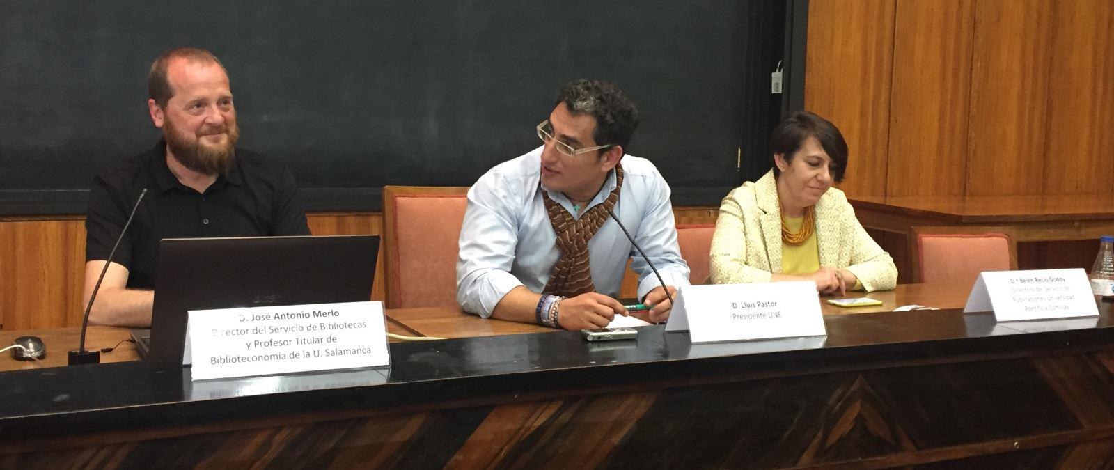 José Antonio Merlo (i), Lluís Pastor (c) y Belén Recio (d) ayer durante la presentación del proyecto / Rosa de Bustos