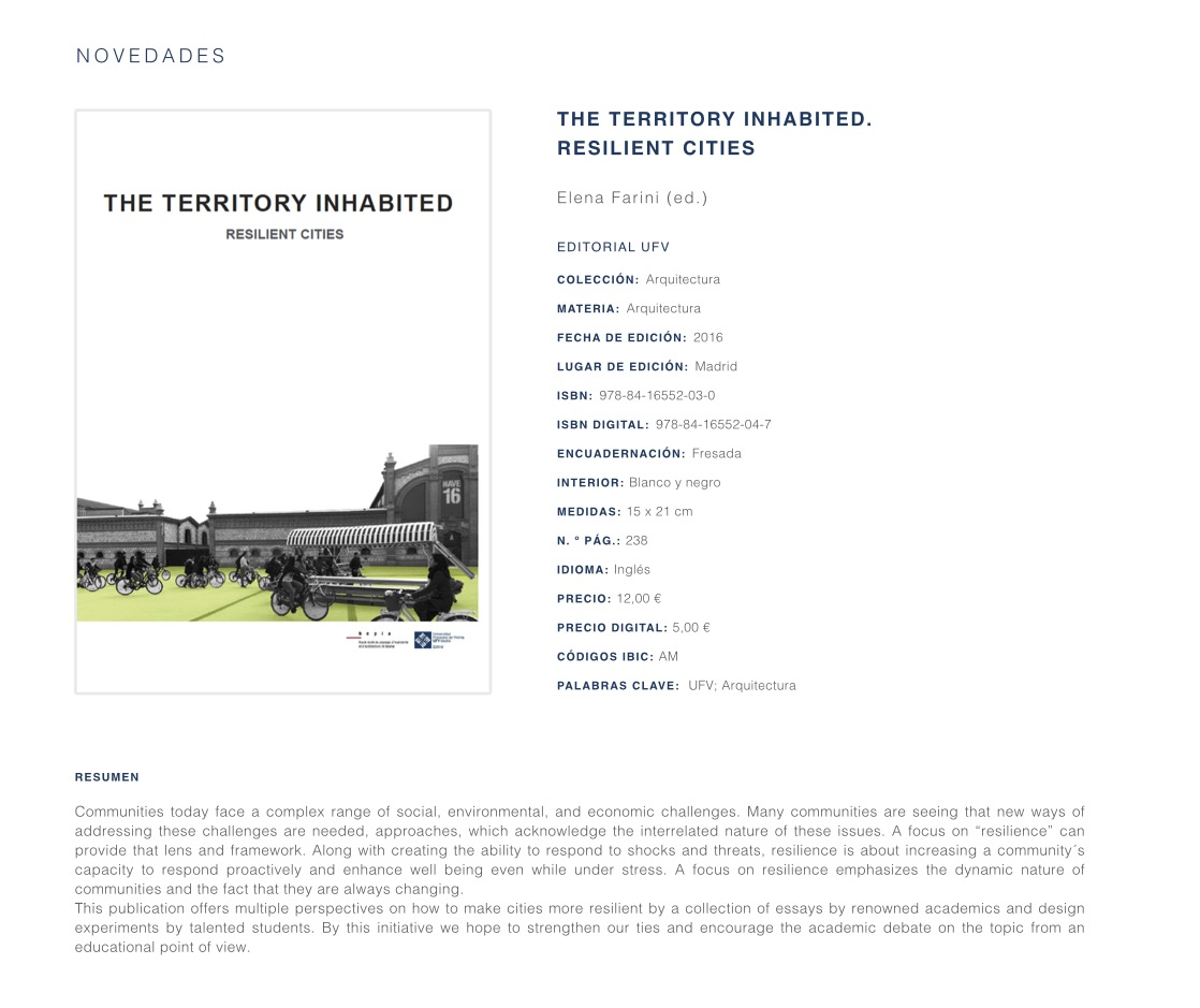 ''The territory inhabited'. Resilient cities''
