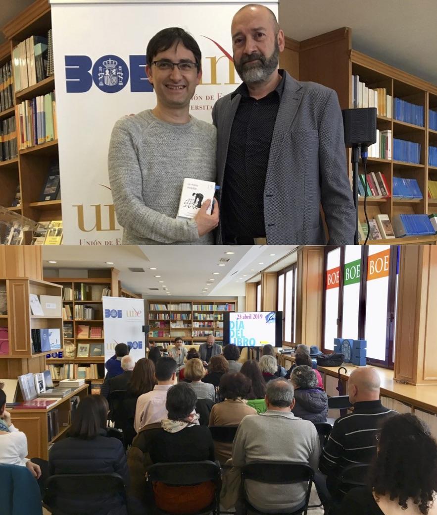Imagen superior: Antonio Martín (d) y Enrique Barba (i)  Imagen inferior: Un momento del acto