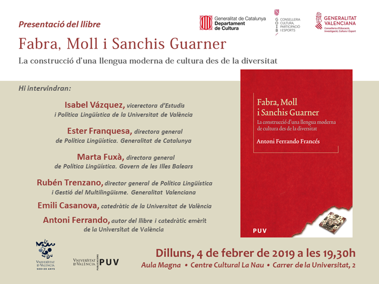 "La Universitat de València publica ""Fabra, Moll i Sanchis Guarner"""