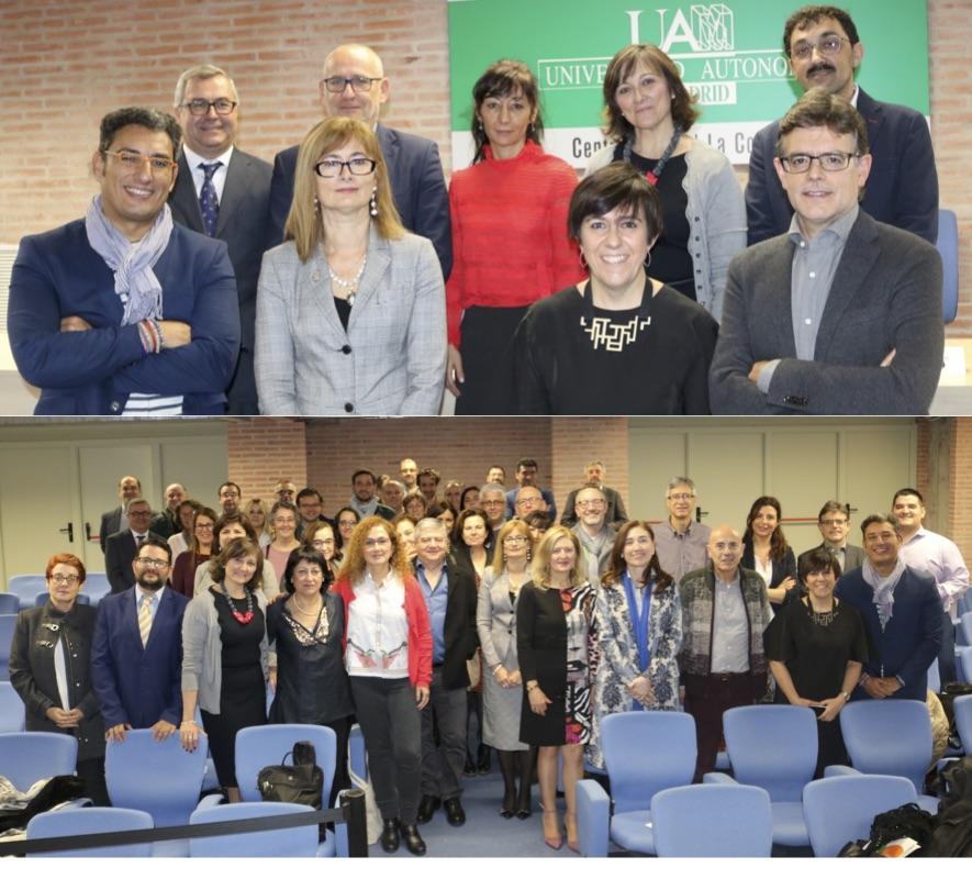 Foto: En la imagen superior, la nueva Junta Directiva. Debajo, una foto de familia de los editores universitarios / Rosa de Bustos