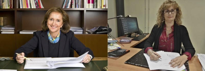 Foto: Ana María Santos Aramburo, directora general de BNE (i), y Ana Isabel González, presidenta de la UNE (d).