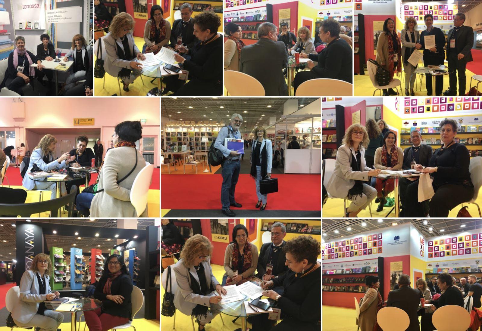 Foto: Imágenes de las reuniones mantenidas por la presidenta de la UNE en la Feria de Frankfurt 2019 /Alejandro Fernández